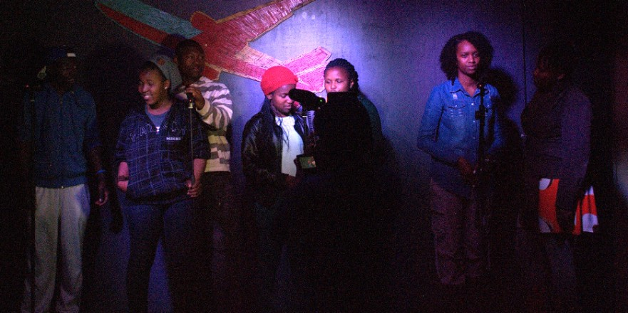 The INKcredibles get ready todo their thing. f.l.t.r. Sam, Palesa, Vusi, Pulosetsoe, Nthateng, Chrystal and Genevieve