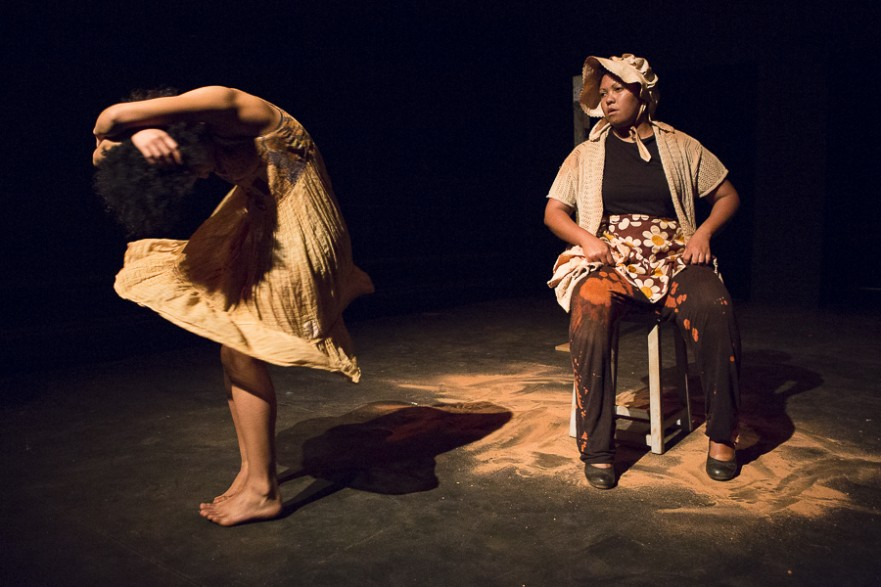 From left Kaylin Coetzee and Deidre Jantjies in 'Kalahari Swan' directed by Jason Jacobs - Photo: Jesse Kramer