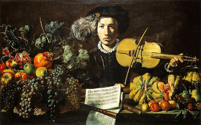 Master of the Acquavella Still-Life Italian artist, Still Life with a Violinist 1620